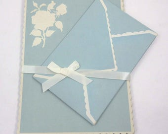Vintage Blue Stationery Set with Ivory Embossed Roses Flowers Scalloped Edges