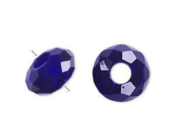 CLEARANCE - Large Hole Euro-Syle Bead for big hole bead systems - glass, 32-facet, cobalt blue 14x8mm faceted rondelle w/ 5mm hole. Pkg of 6