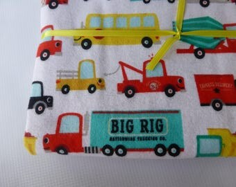 Flannel Receiving Blanket - Vehicles - Large flannel lined baby blanket