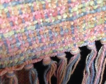 Handwoven scarf in Rainbow Combo rayon chenille