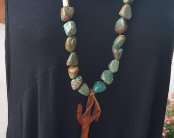 Chunky Turquoise Necklace -Bronze - Leather Cactus - Saguaro Cactus - Hand Tooled Leather - Cowgirl Jewelry - Boho - Southwestern