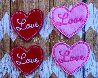 Set of 4 Heart Love Felties - Hairbows Scrapbook Red Pink Valentines - READY TO SHIP