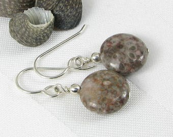 Agatized Fossil Jasper and Sterling Silver Earrings