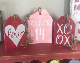 valentines farmhouse tags february 14 love sign xoxo valentines home decor - Valentine Home Decorations