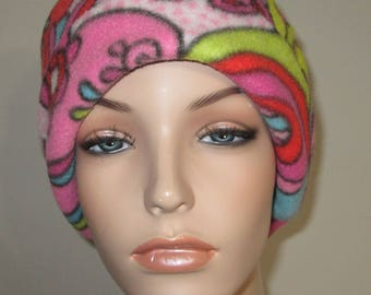 Fleece Pillbox 70's Print Anti Pill  Winter Hat, Cancer, Chemo Hat, Warm Hat