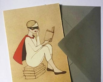 Sale You are a super reader card, large greeting card with envelope