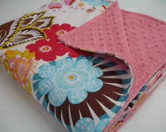 Summer Totem Minky Blanket 41 x 58 READY TO SHIP On Sale