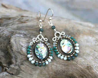 Aquamarine, Green Seraphinite Gemstones, Abalone Shell and Crystal Wire Wrapped Sterling Silver Handmade Earrings