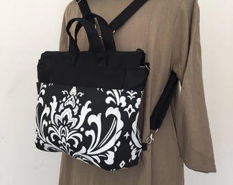 4 WAYS bag / Tote / Cross Body / Shoulder / Backpack - Ozborme Black