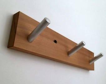 Modern Wood Décor, Wall Coat Rack Wood, Metal Pegs, For Wall Mount, Living Room Décor Modern, Bedroom Décor Modern, With Three Coat Hooks