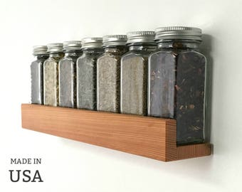 Spice Shelf, Reclaimed Wood Minimalist Floating Wall Mountable, Chef Gift, Housewarming Gift