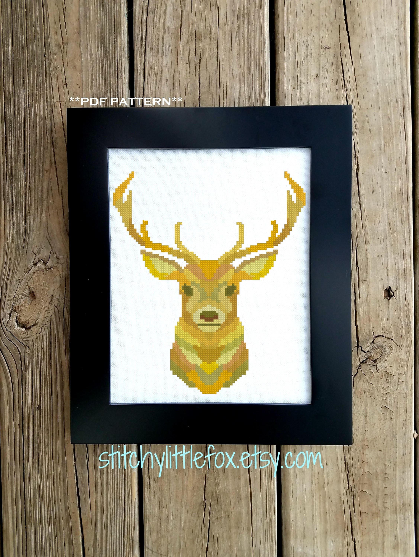 Cross Stitch Pattern Modern - Embroidery Pattern Printable - Deer ...