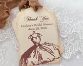 Thank You Bridal Shower Tags, Personalized Favor Tags, Set of 10 Vintage Wedding Gown