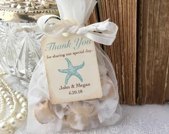 Beach Wedding Favor Bags, Aqua Starfish Favor Bags, Wedding Starfish Bags, Set of 10