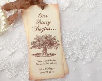 Oak Tree Bookmarks Oak Tree Favors, Rustic Wedding Favors, Woodland Favors, Set of 10