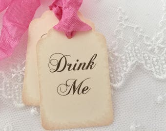 Pink Drink Me Tags, Drink Me Favor Tags, Alice In Wonderland Party Favor Tags, Set of 10