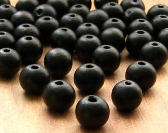 Black Wooden Beads 12mm - Over 75 - Matte Black Wood Beads, Lead Free (WBD0146)
