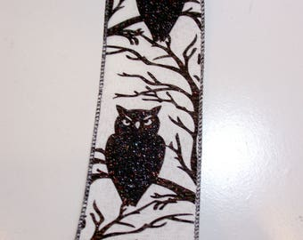 Halloween Ribbon, Owl Wired Fabric Ribbon 2 1/2 inches wide x 10 yards, Offray Owl Ribbon