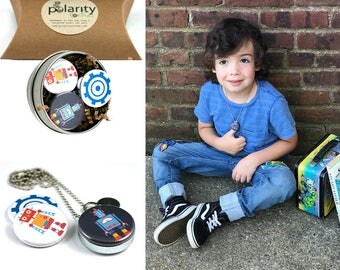 Young Boy Back to School Locket | Robot Locket for Boy or Girl | Holds a Family Photo | Confidence Builder | Gift for Son | Grandson Gift