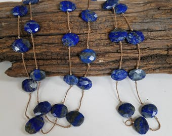 Blue Lapis Stone Necklace Handknotted Silk Long Layer Necklace