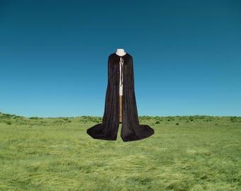 Cloak - Hooded Black Velvet Cape - Halloween Costume - Renaissance Wedding - Mardi Gras - Medieval