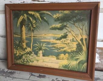 Antique Print Art Deco Palm Trees 1920s Framed Art Island Paradise