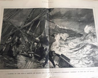 Antique Illustration - JEH Glimpse of the Sun P and O Company's Steamship Zambesi Bay of Biscay