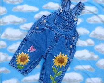 Girls Jeans/Kids Fashion/Baby Overalls/Art For Kids/Sunflower Art/Sunflower Painting/Flower Art/Upcycled Art/Painted Fabric/Painted Denim