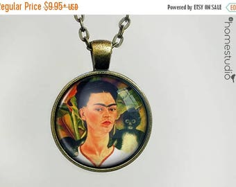 ON SALE - Frida : Glass Dome Necklace, Pendant or Keychain Key Ring. Gift Present metal round art photo jewelry by HomeStudio