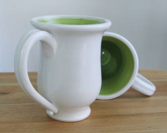Pottery Mugs, Set of 2 Handmade Ceramic Coffee Cups in Lime Green, Couple Gift, Wheel Thrown Stoneware