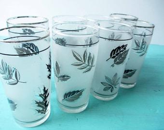 Vintage Libbey Silver Leaf Frosty Juice Glasses Set of Eight - Retro