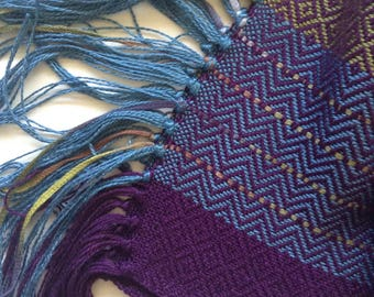handwoven scarf in plum olive and slate blue bamboo