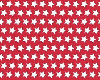 15%OFF Basic Stars White on Red - 1/2 Yard