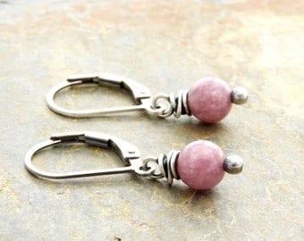 Petite Pink Earrings - Sterling Silver - Pink Dangle Earrings - Lightweight Pink Gemstone Earrings - Pink Lepidolite - Lever Back #4890