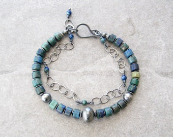 azurite bracelet, gemstone and silver bracelet, blue bracelet, oxidized silver jewelry, boho double strand bracelet