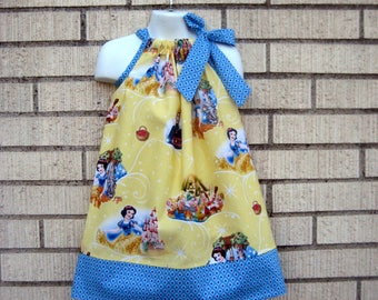 Disney inspired Snow White Pillowcase Dress  on Yellow, Sizes 3M  up to 8 years