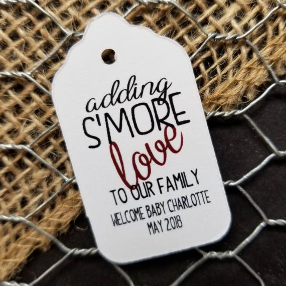 "Adding S'More Love to our Family SMALL 2"" Favor Tag Choose your quantity"