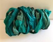 Silk Sari Ribbon-Teal Mix Sari Ribbon-10 Yards