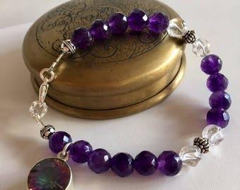 Amethyst Bracelet With Mystic Quartz Dangle Charm