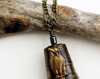 Vintage Brass Thimble Necklace with Owl Wire Wrapped Hematite Bead Owl Thimble Jewelry at Hendywood