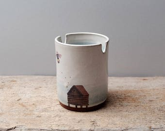 Beehive and Bee Paintbrush Water Cup
