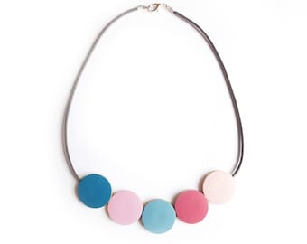 Wooden Bead Necklace, Pastel Jewellery, Scandinavian, Wooden Jewellery, Simple Necklace, Gift For Her, Mothers Day, Pink Blue, Valentines