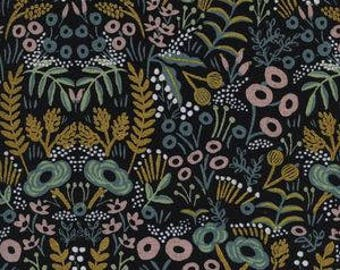 tapestry midnight metallic canvas, blue floral fabric, cotton and steel, menagerie fabric, rifle paper fabric, rifle paper co, 8040-22