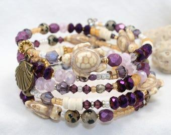 Beaded bracelet, Memory wire bracelet, stacked 5 coil boho chic bracelet, Czech beads, Swarovski Crystals, Charm bracelet, metal beads