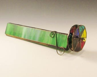 Stained Glass Kaleidoscope - Green Body, Two Wheels, and Curly Cue Feet