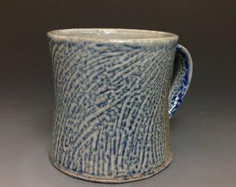 Coffee Mug. Soda Glazed Stoneware.  Cobalt Slip. Sweep Pattern