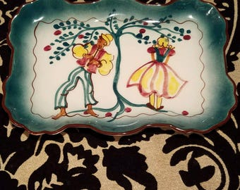 Vintage Florencita Hand Painted Serving Tray