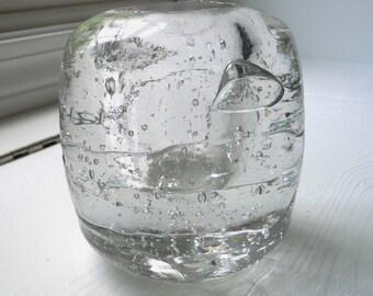 1960s Iittala Arkipelago ICE BALL Candle Holder- Scandinavian Design- Clear Glass Candleholder- Nordic Art Glass Finnish Decor- Hostess Gift