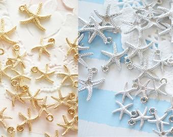 20 pcs  Starfish Charm (10-14mm) 2 sizes / Gold Silver AZ575