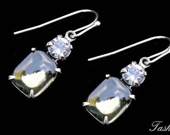 Delicate Swarovski Dangle Earrings, Crystal Rhinestone Jewelry, Gift for Women
